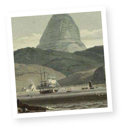Vintage drawing of Lochinver, Scotland